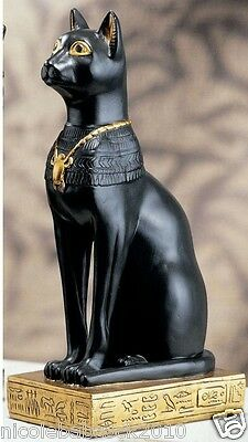 "8"" Ancient Egyptian Feline Goddess Rimmed With Heiroglyphics On Base"