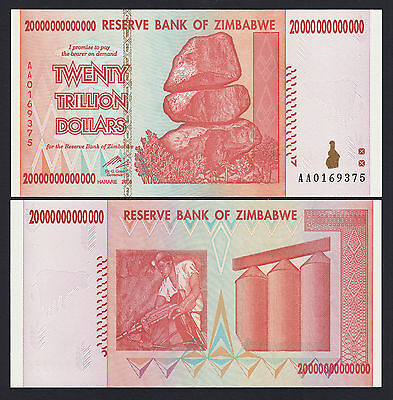 Zimbabwe 20 Trillion Dollars 2008 SERIES- AA Pick-89 UNCIRCULATED