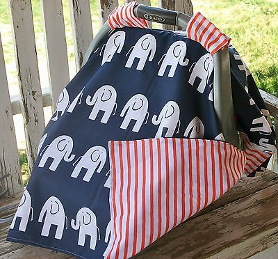 Infant Car Seat Canopy Cover Navy Blue W Elephants And Orange Stripe Cotton