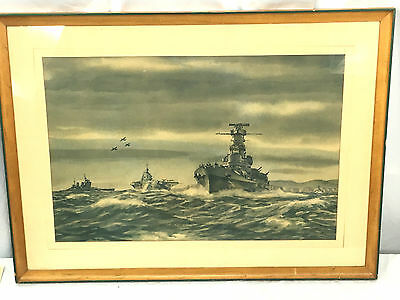 "Vintage Framed ""Task Force Of Two Navies"" Print- Combat Artist LT Dwight Shepler"