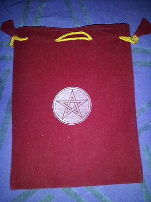 "5"" by 7"" Red Velveteen Bag with Pentagram - wiccan pagan magick occult spell"