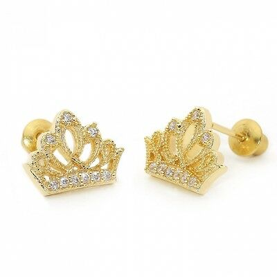 14k Gold Plated Baby Princess Crown Children Screwback Earring With 925 Silver P