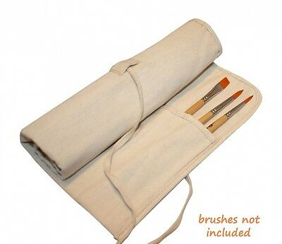 Natural Canvas Artist Brush Holder for Short Handle Paint Brushes and Art Tools