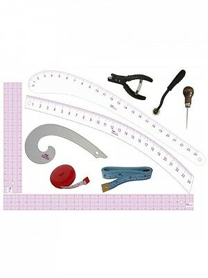 PGM Fashion Design Tools Set: Awl, Pattern Notcher, Tracing Wheel, Grid Rulers,