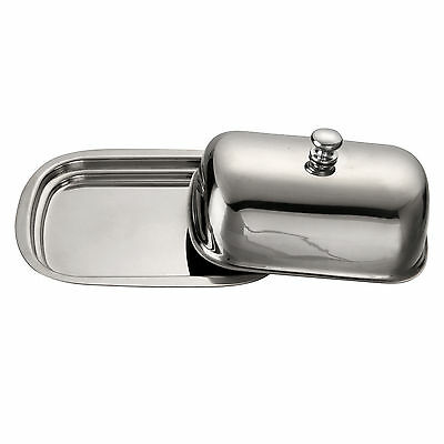 New Stainless Steel Butter Dish With Lid Tray Holder Serving Storage