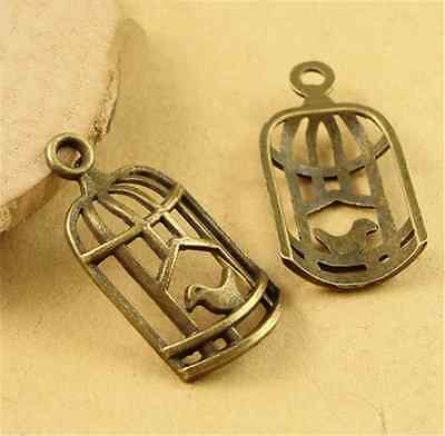 P1561 20pc DIY Antique Bronze birdcage Pendant Beads Charms Jewellery Making