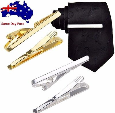 Fashion Silver Gold Mens Metal Simple Necktie Tie Bar Clasp Clip Practical Gift