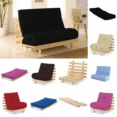 Happy Beds Metro Futon Solid Pine Wood Chair Guest Bed Foldable Frame Mattress