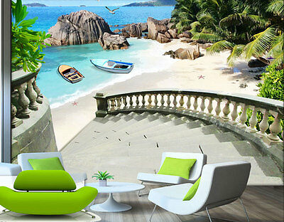 Private Summer Beach Garden 3D Full Wall Mural Photo Wallpaper Printed Home Deco