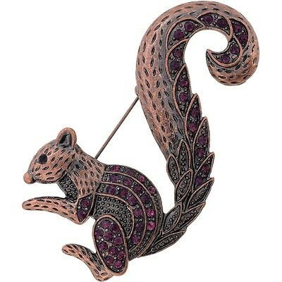 Amethyst Purple Squirrel Vintage Style Crystal Pin Brooch. Delivery is Free
