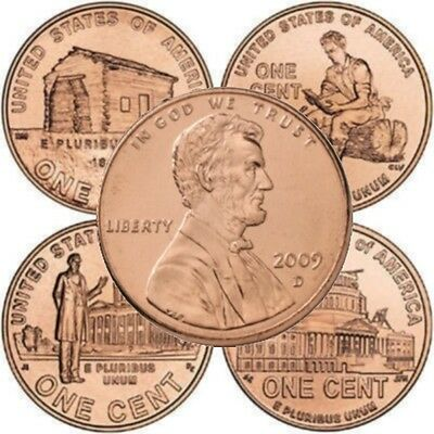 Four Coin Set Lincoln Bicentennial 2009 Cent Pennies from Mint Rolls D Mint