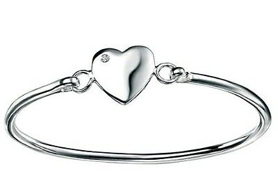 Baby Jewellery - Sterling Silver Diamond Heart Bangle. Brand New