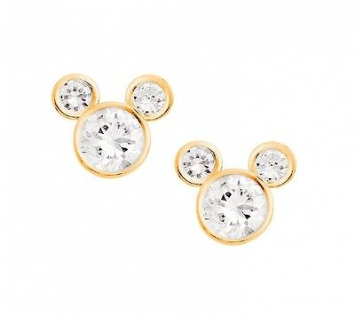 Disney Mickey Mouse 14Kt Gold Cz Stud Earrings Jewellery. Free Shipping