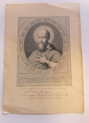 canivet santino holy card  immaginetta sacra San Francesco di Sales