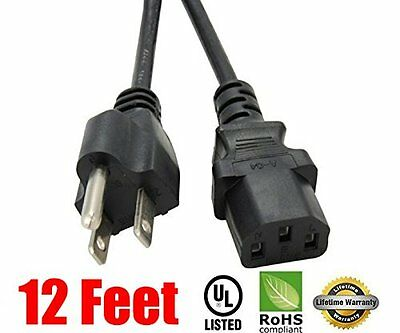 Extra Long 12 feet Ac Power Cord Cable for TV LCD Plasma DLP Monitor Screen
