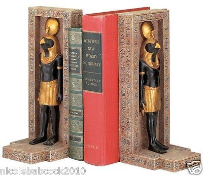 Set Of 2 Ancient Egyptian Royal Horus In Faux Stone Carved Tablet Book Holders