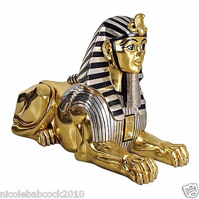 """76"""" Inches W Huge Ancient Egyptian Royal Sphinx Body Lion - Head Of Human Statue"""