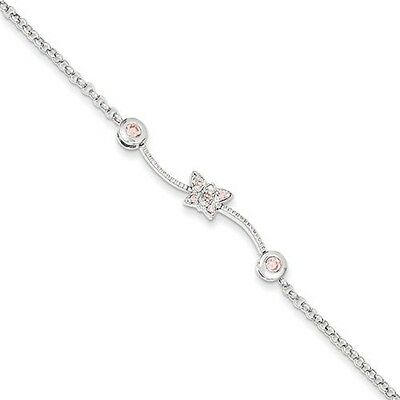 Sterling Silver Pink CZ Childs Bracelet - Children's Jewellery. Brand New