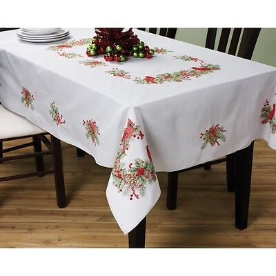 BUCILLA Stamped Cross Stitch Cardinals Tablecloth Kit, 130cm by 180cm. Free Deli