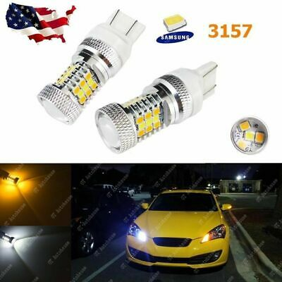 High Power 3157 Switchback White/Amber 31-SMD LED Bulbs Front Turn Signal Lights