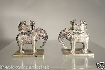 Antique Indian Chinese Solid Silver Elephant Place Card Holders Sterling Fine