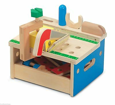 Melissa & Doug Sturdy Wooden Hammer And Saw Mini Tool Bench Child Toddler Toy