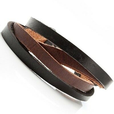 Combo Chic Black n Brown Men's Leather Bracelet Cuff. Delivery is Free