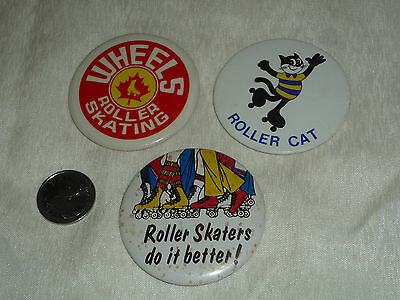 Lot of 3 Roller Skating Pinback Buttons- All Different! Rare!