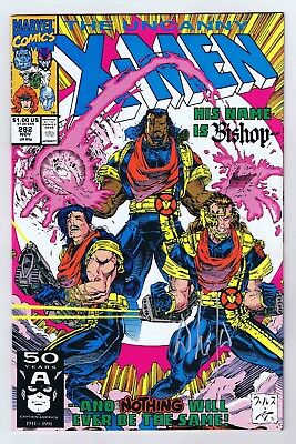 Uncanny X-Men #282 VF/NM 1st App Bishop Signed Whilce Portacio w/COA Marvel 1991
