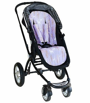 Bambella Pram Liner + Strap Covers Universal Fit GOLDEN DEER LILAC