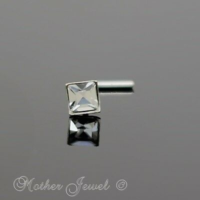 Real 925 Sterling Silver Square Clear Crystal L Shaped Bent Nose Nostril Stud
