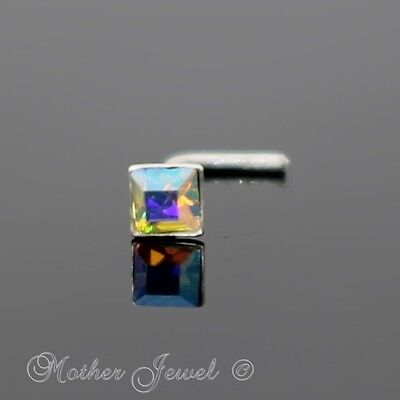 Real 925 Sterling Silver Square Rainbow Aurora L Shaped Bent Nose Nostril Stud