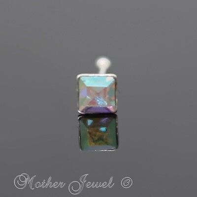 Real 925 Sterling Silver Square Rainbow Aurora Ball End Nose Nostril Stud