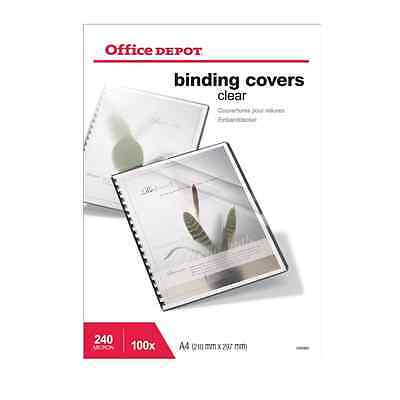 Office Depot A4 Binding Covers White Leather Look 250gsm Pack of 100