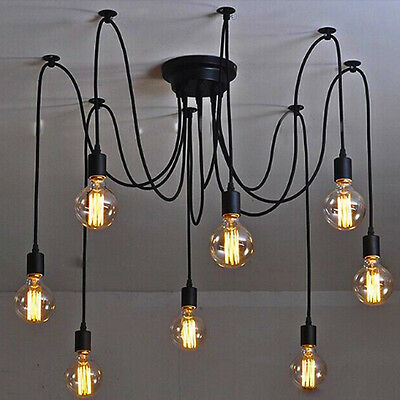 8 Heads Nordic Chandelier Loft Antique DIY E27 art Spider Ceiling Lamp Light