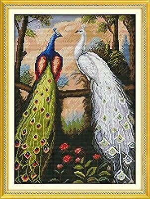 Dimensions Needle Crafts Counted Cross Stich Hand Made 14CT The forest peacock D