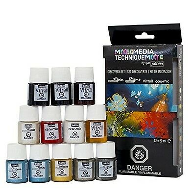 Pebeo Mixed Media Discovery Collection of 12 Assorted Paint Colours, 20ml. Huge