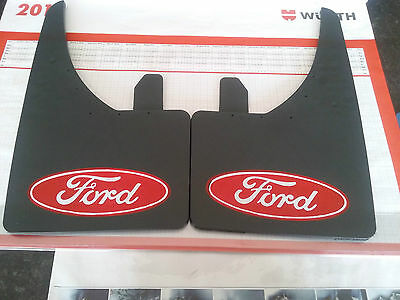 Universal Mudflaps Front Rear Ford Red Logo Fiesta Mondeo Ka Mud Flap Guard NEW