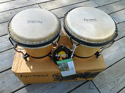 "Tycoon 6"" and 7"" Natural Bongo Pair TB-8BN Percussion Black Hardware"