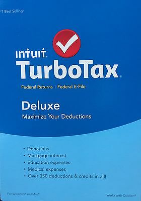 2015 Intuit TurboTax Deluxe Federal ONLY + E-File BRAND NEW FACTORY SEALED!!!