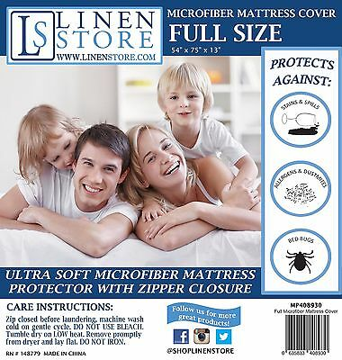 Zippered Fabric Mattress Protector Bed Bug Allergy Dust Mite Cover