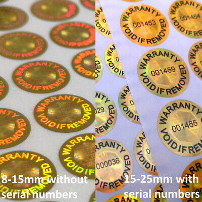 Warranty Void If Removed Tamper Proof Stickers Gold Hologram Security Seal Label