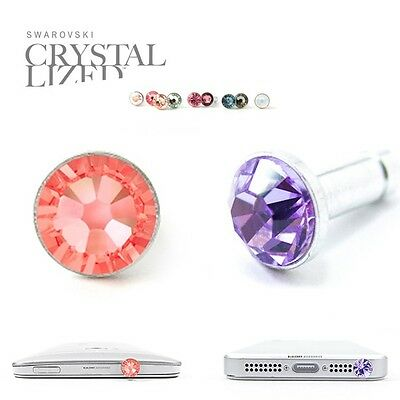 2pc Anti Dust Plug Ear Cap Made with Swarovski Element Crystal Lavender +Pink