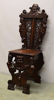 Antique Victorian Renaissance Carved Walnut Hall Chair