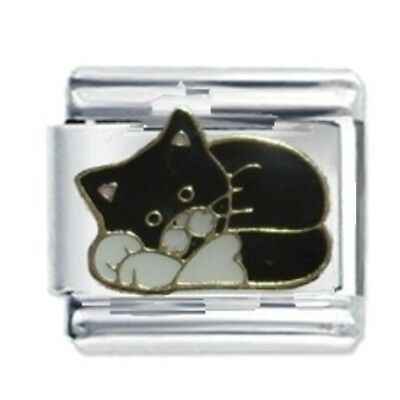 Cute Black Cat - Daisy Charm by JSC Italian Charms Fits Nomination Classic Brace