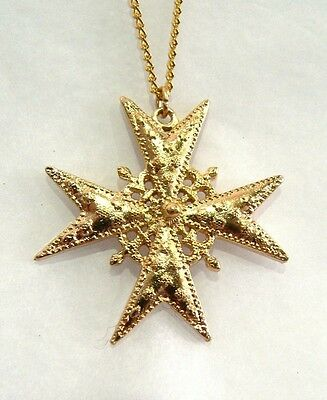 Historic Jewellery Reproduction Gold plated pewter - Maltese Cross pendant - Uni