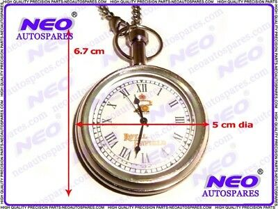 Pure Brass Brand New Pocket Watch Chromed + Chain Vintage Royal Enfield Bikes