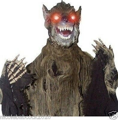Halloween Animated Lighted Rabid Wolf Monster Haunted House Prop Decor