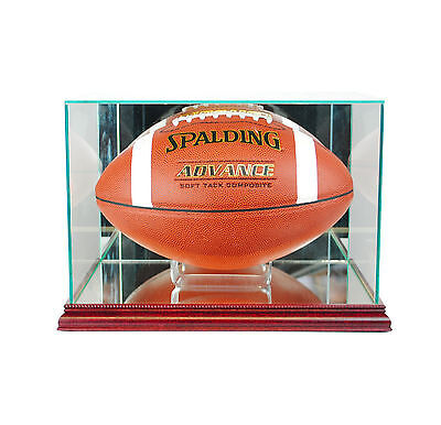 Football Rectangle Glass Display Case -Cherry Wood Base