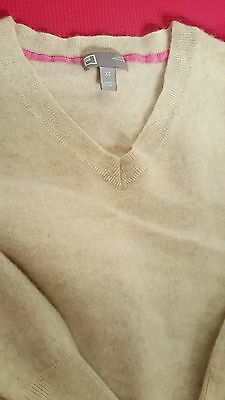JCP 100% cashmere sweater longsleeve shirt v neck pullover top cream beige XS